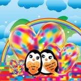 Arcobaleno variopinto di amore del pinguino Fotografie Stock Libere da Diritti