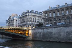 Arcole bridge with lights in the night of Paris Stock Photography