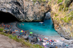 Arcomagno beach in calabria italy with natural arch. Arcomagno italian beach in calabria italy with natural arch stock photo