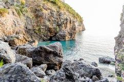 Arcomagno Beach on the Coast of the Cedars, Tyrrhenian Sea, Ital Royalty Free Stock Images