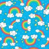 O arco-íris Doodles o vetor sem emenda do teste padrão ilustração royalty free