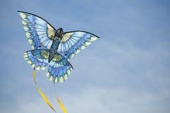Arcos azuis do papagaio através do céu foto de stock