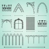 Arcos, cercas y ventanas de las siluetas stock de ilustración