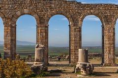 Arcos da basílica, Volubilis Fotografia de Stock Royalty Free