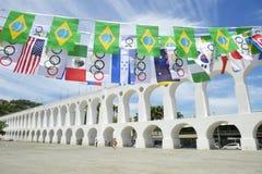 Arcos da Lapa Arches Rio de Janeiro Olympic Flags Stock Photography