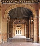 Arcos de ensamble arquitectónico de Plaza de Espana en Sevilla fotografía de archivo