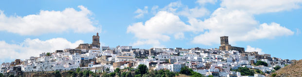 Arcos de la Frontera. Overview of the Spanish town of Arcos de la Frontera, Spanish white village situated on a mountain Royalty Free Stock Photo