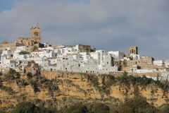 Arcos de la Frontera. Landscape of a typical Andalusian village known to be located near a ravine royalty free stock photos