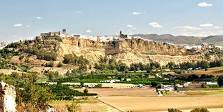 Arcos de la Frontera. Panoramic view of the town of Arcos de la Frontera located in the Spanish province of Cadiz, on a clear day Stock Photography