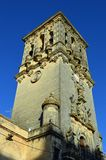 Arcos de la Frontera Bell tower of Minor Basilica of Santa Maria de la Asuncion. Minor Basilica of Santa Maria de la Asuncion on Plaza del Cabildo. Arcos de la stock photography
