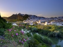 Early evening sunset light falling on the town of Arcos de La Frontera, Andalucia, Spain royalty free stock images