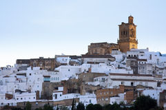 Arcos de la Frontera - View of the City. Arcos de la Frontera - Scenic Shot of the city built upon a hilltop. One of the famous White Villages of Andalusia, in royalty free stock images