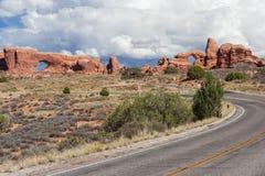 Arcos de la sección de Windows en el parque nacional Utah los E.E.U.U. de los arcos Foto de archivo libre de regalías