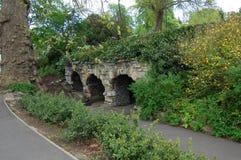 Arcos de piedra viejos cubiertos en verdor Foto de archivo