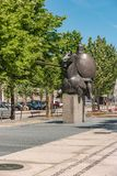 ARCOS DE VALDEVEZ, PORTUGAL - CIRCA MAY 2019: Statue of the Joust of Valdevez that was a decisive episode of the History of. Portugal connected to the stock photos