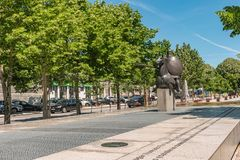ARCOS DE VALDEVEZ, PORTUGAL - CIRCA MAY 2019: Statue of the Joust of Valdevez that was a decisive episode of the History of. Portugal connected to the royalty free stock photos