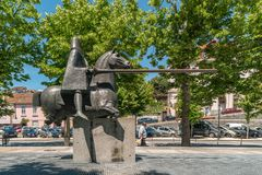 ARCOS DE VALDEVEZ, PORTUGAL - CIRCA MAY 2019: Statue of the Joust of Valdevez that was a decisive episode of the History of. Portugal connected to the royalty free stock images