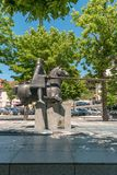 ARCOS DE VALDEVEZ, PORTUGAL - CIRCA MAY 2019: Statue of the Joust of Valdevez that was a decisive episode of the History of. Portugal connected to the royalty free stock photo