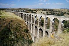 Arcos del Sitio Arcos Site historic aqueduct in Tepotzotlan, Mexico.  stock images
