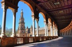 Arcos en la plaza de España en Sevilla Foto de archivo libre de regalías