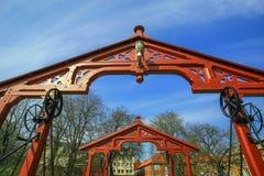 Arcos na ponte velha, Trondheim fotografia de stock royalty free