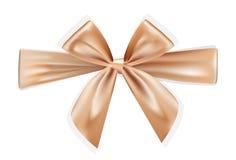 Arcos realistas marrones de oro para la caja de regalo en el fondo blanco Fotografía de archivo libre de regalías