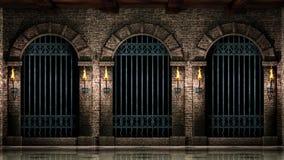 Arcos y verjas del hierro stock de ilustración