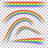 Arcs-en-ciel dans l'ensemble réaliste de forme différente sur le fond transparent illustration libre de droits