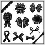 Arcs noirs de ruban Photographie stock
