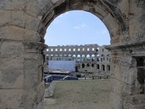Arcs of Roman Amphitheatre Arena Pula, Istria, Croatia. Arena – Amphitheater is one of four Ancient Roman amphitheaters still in use today. Built in the royalty free stock photography