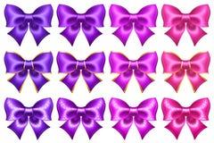Arcs ultra-violets et roses en soie avec la frontière et le scintillement d'or illustration stock