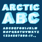 Arctic ABC. Icy font letters. Blue cold alphabet.  Royalty Free Stock Image