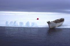 Arctic Alaska Beaufort Sea Eskimo Whaling. Barrow, Alaska Village whaling camps on open lead (Ice edge). Umiak seal skin canoe used to track , then royalty free stock photos