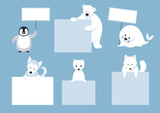 Arctic Animals Characters Show Blank Signs Stock Photo