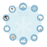 Arctic Animals, People, Icons Circle Frame Royalty Free Stock Image