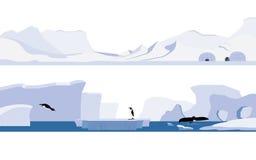 Arctic and Antarctica. Set of arctic and antarctica royalty free illustration