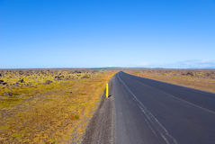 Arctic, asphalt, blue, sky, circle, grass, Iceland Stock Photography