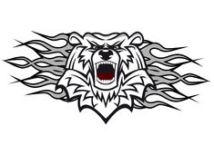 Arctic bear. With flames for tattoo or mascot design vector illustration