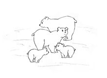 Arctic bears. Two bear-cubs with parents on the North Royalty Free Stock Photo