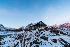 Arctic cabin in Norway Stock Image