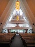 Arctic Cathedral (Ishavskatedralen), interior. Interior of the Arctic Cathedral with the organ. In Tromso, Norway Stock Photos