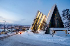 Arctic cathedral in Tromso, Norway Royalty Free Stock Photo