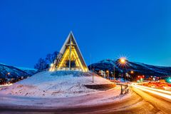 Arctic Cathedral in Tromso. Arctic Cathedral church in Tromso Northern Norway at dusk twilight Stock Photography