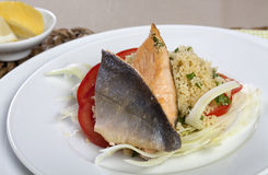 Arctic Char on Couscous and Fennel Stock Image