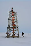 Arctic Chukotka. Old lighthouse . Royalty Free Stock Photo