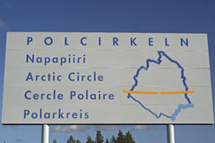 Arctic Circle. Sign in northern Sweden Royalty Free Stock Photo