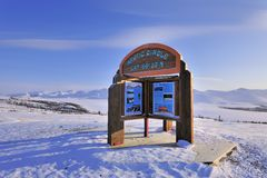 Arctic circle. There is a sign of arctic circle on 66 degree north latitude Stock Photos