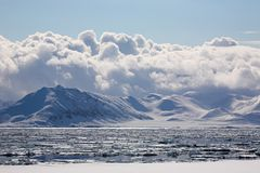 Arctic cloudy winter landscape Stock Image