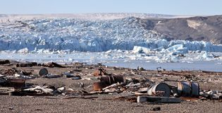 Arctic coast pollution Stock Images