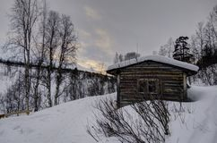 Arctic cottage. In finish landscape in lapland Stock Image